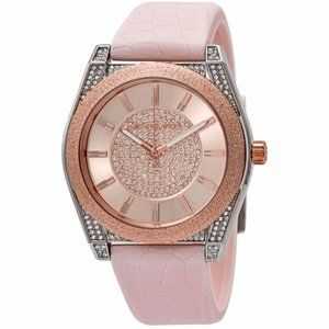 New Michael Kors Pink Silicone Strap Ladies Watch Rose gold-Tone Water Resistant